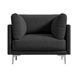 Rove Concepts Anderson Modern Classic Mora Black Upholstered Metal Arm Chair
