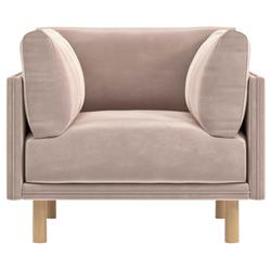Rove Concepts Anderson Modern Classic Blush Pink Velvet Wood Arm Chair