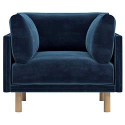 Rove Concepts Anderson Modern Classic Cobalt Blue Velvet Wood Arm Chair