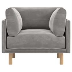 Rove Concepts Anderson Modern Classic Dusk Grey Velvet Wood Arm Chair