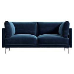 Rove Concepts Anderson Modern Classic Cobalt Blue Velvet Metal Loveseat