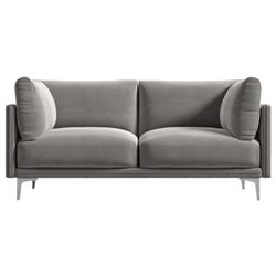 Rove Concepts Anderson Modern Classic Dusk Grey Velvet Metal Loveseat