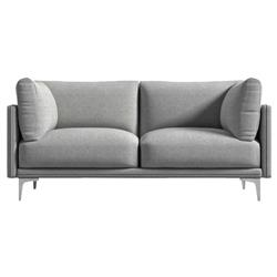 Rove Concepts Anderson Modern Classic Malmo Grey Upholstered Metal Loveseat