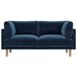 Rove Concepts Anderson Modern Classic Cobalt Blue Velvet Wood Loveseat