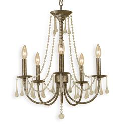 Tracy Hollywood Regency Antique Gold Glass Drops 5 Light Chandelier