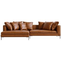 Rove Concepts Hugo Modern Classic Palermo Tan Leather Sectional Sofa - Left Hand Facing