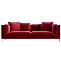 Rove Concepts Nico Modern Classic Cardinal Red Velvet Sofa