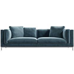 Rove Concepts Nico Modern Classic Solstice Blue Velvet Sofa