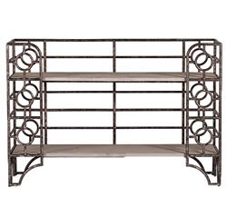 Wyatt Brushed Zinc Iron Concrete Bakers Rack