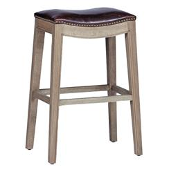 Pair Dalton French Country Leather Oak Curved Bar Stool