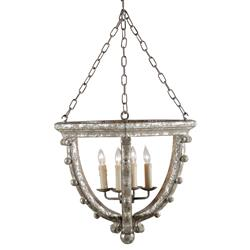 Branson French Country Antique Silver Leaf 4 Light Open Pendant