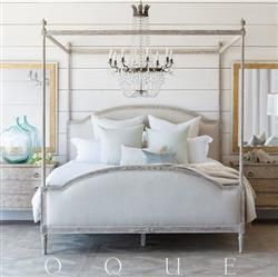 Eloquence Dauphine Canopy Bed in Fog Linen and Beach House Natural Finish
