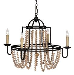 Sabrina French Country Wood Beaded Swag Black Iron Chandelier