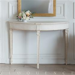 Eloquence Sophia Magdalena Demi Lune Console in Rosette White and Gold Trim Finish