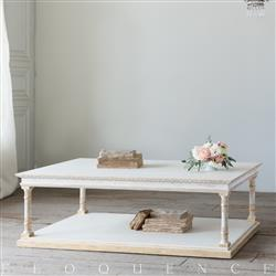 Eloquence Gustav Coffee Table in Pickled White and Gold Highlight Finish
