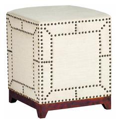 Zara Modern Regency Linen Nail head Ottoman Footstool