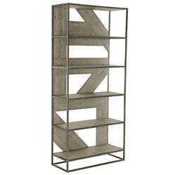 Maxine Industrial Loft Brown Wood Steel Etagere
