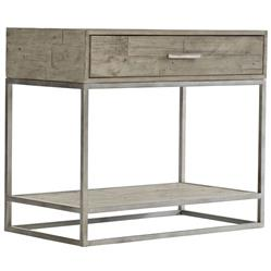 Maxine Industrial Loft Brown Wood Steel Nightstand