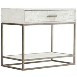 Maxine Industrial Loftc Brushed White Wood Steel Nightstand