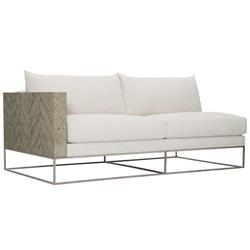 Maxine Modern Classic Ivory Upholstered Herringbone Patterned Wood Loveseat - Left Arm Facing