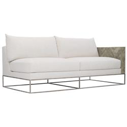 Maxine Modern Classic Ivory Upholstered Herringbone Patterned Wood Loveseat - Right Arm Facing