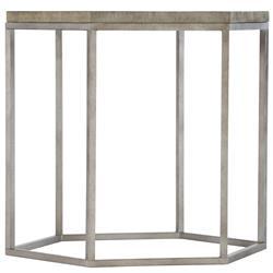 Maxine Industrial Loft Brown Wood Steel Hexagonal Side End Table