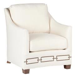 Baldwin Hollywood Regency Curved Front Arm Chair - Rectangle Nailhead
