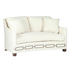 Baldwin Hollywood Regency Curved Front Settee - Rectangle Nailhead
