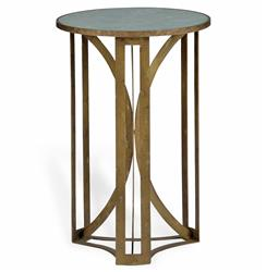 Bernard Hollywood Regency Antique Brass Leaf Marble Side Table