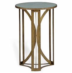 Bernard Hollywood Regency Antique Brass Leaf Marble Side Table