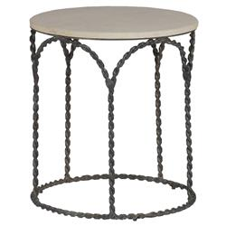 Bradley Rustic Braided Iron French Country Cream Limestone Side End Table