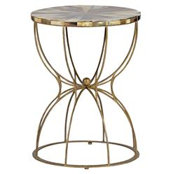 Gabrielle Hollywood Regency Hourglass Brass Horn Side End Table
