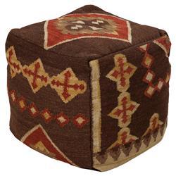 Jaden Global Bazaar Tribal Brown Wool Square Pouf