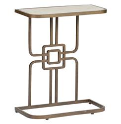Gilbert Hollywood Regency Deco Geometric Bone Side Accent Table