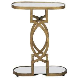 Natasha Art Deco Antique Brass Geometric Side End Table
