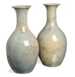 Arles Classic Pale Blue Gray Stoneware Reactive Glaze Vase Set