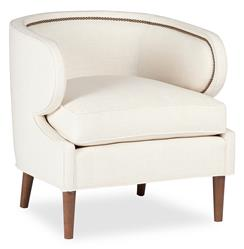 Monroe Hollywood Regency Deco Ivory Linen Arm Chair