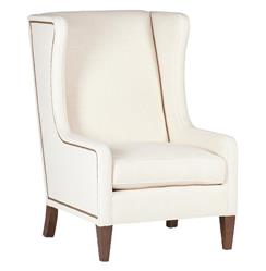 Reagan Hollywood Regency Ivory Wing Back Accent Armchair