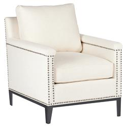 Weston Modern Classic Regency Nailhead Ivory Linen Arm Chair
