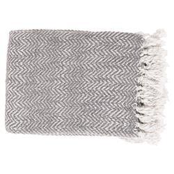 June Modern Classic Woven Light Grey Throw Blanket