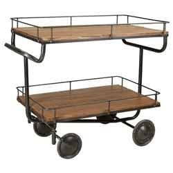 Charles Industrial Loft Brown Reclaimed Wood Metal Bar Cart