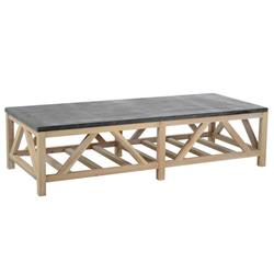 Ashley Rustic Lodge Grey Bluestone Top Raw Pine Wood Rectangular  Coffee Table
