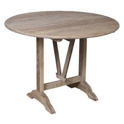 Margarette Rustic Lodge Natural Brown Reclaimed Elm Wood Round Folding Bar Dining Table
