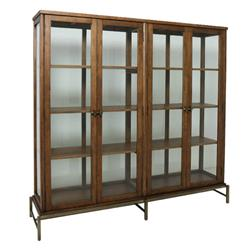 Beverly Mid Century Modern Classic Brown Oak Wood Glass Door Brass Display Bookcase