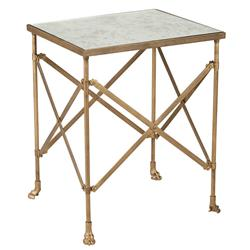 Cassandra Modern Classic Antique Mirror Top Gold Metal Side End Table