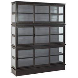 Edwardo Industrial Loft Rust Patina Metal Glass Tall Display Bookcase