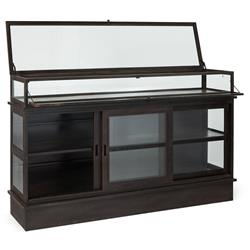 Edwardo Industrial Loft Rust Patina Metal Glass Low Display Bookcase