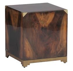 Addison Solid Polished Wood Art Deco Brass Cube Ottoman End Table