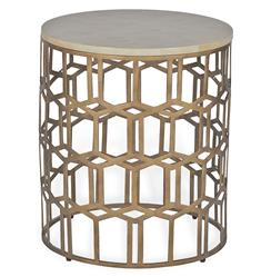 Carmen Hollywood Regency Deco Round Horn End Side Table