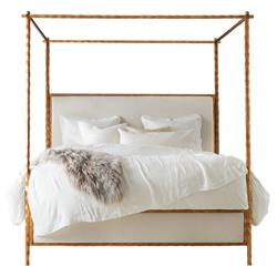 Marilyn Modern Classic Gold Leaf White Linen Upholstered Wood Canopy Bed - Queen